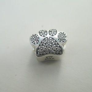 Pandora SS and CZ Dog cat  Paw Charm